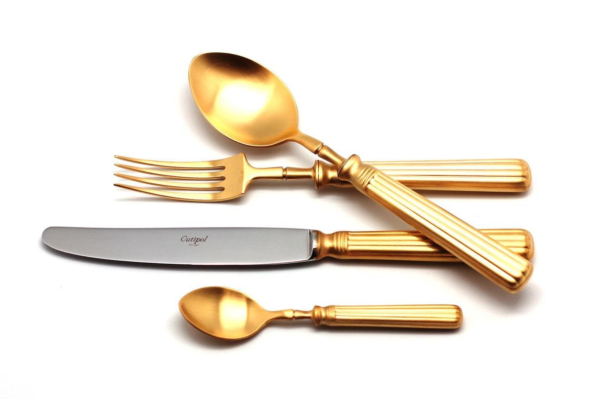 Набор столовых приборов Cutipol Line Gold, цвет: золотистый матовый, 72 предмета9172-729172-72 LINE GOLD мат. Набор 72 пр.