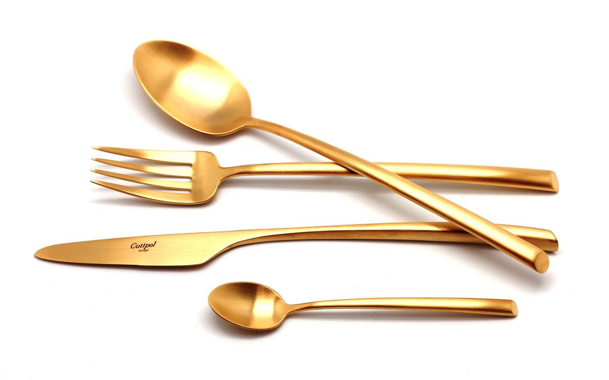 Набор столовых приборов Cutipol Mezzo Gold, цвет: золотистый матовый, 72 предмета9302-729302-72 MEZZO GOLD мат. Набор 72 пр. Характеристики: Материал: сталь. Размер: 660*305*225мм. Артикул: 9302-72.