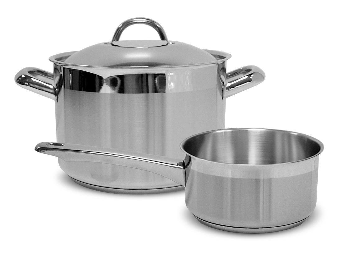 Набор посуды Silampos Европа, 3 предмета632123BM0111Толщина дна: 5 мм. Крышка: нержавеющая сталь. В наборе: Кастрюля с крышкой - 18 см, объем - 3 л. Сотейник - 18 см, объем - 1,9 л.