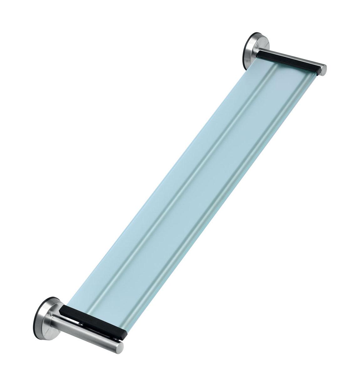 Полочка для ванной комнаты Brabantia, 63 см х 13 см х 6 см427466Полочка для ванной комнаты Brabantia изготовлена из коррозионностойких материалов - нержавеющей стали и безопасного матового стекла, благодаря чему подходит для помещений с повышенной влажностью. Компактный, хорошо продуманный размер полки соответствуют наиболее популярным размерам умывальника. Идеальное решение для ванной комнаты. Быстро и просто крепится к стене. Крепежные элементы входят в комплект. Размер полки (ДхШхВ): 63 см х 13 см х 6 см.