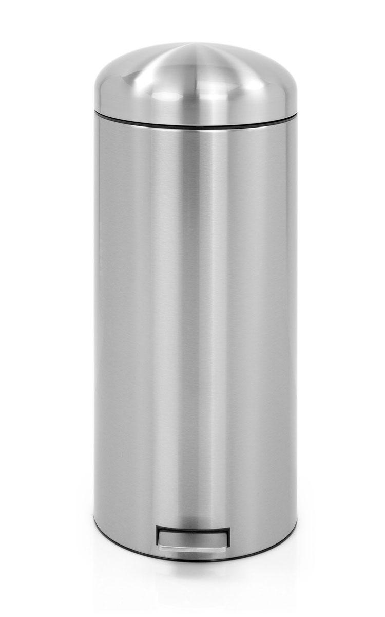 Бак мусорный Brabantia Retro, с защитой от отпечатков пальцев, цвет: матовая сталь, 30 л479366Популярный бак Brabantia в стиле ретро с характерной куполообразной крышкой - идеальное решение для вашей кухни или гостинной. Механизм MotionControl обеспечивает мягкое действие педали и бесшумное закрывание крышки; Мягкое действие педали и бесшумное закрывание крышки; Удобный в использовании - при открывании вручную крышка фиксируется в открытом положении, закрывается нажатием педали; Надежный педальный механизм, высококачественные коррозионно-стойкие материалы; Удобная очистка - съемное внутреннее ведро из пластика; Удобная смена мусорных мешков - во внутреннем ведре имеются специальные вентиляционные отверстия, предотвращающие; Бак удобно перемещать - прочная ручка для переноски; Отличная устойчивость даже на мокром и скользком полу – противоскользящее основание; Предохранение пола от повреждений - пластиковый защитный обод; Всегда опрятный вид – идеально подходящие по размеру мешки для мусора с завязками (размер G);...