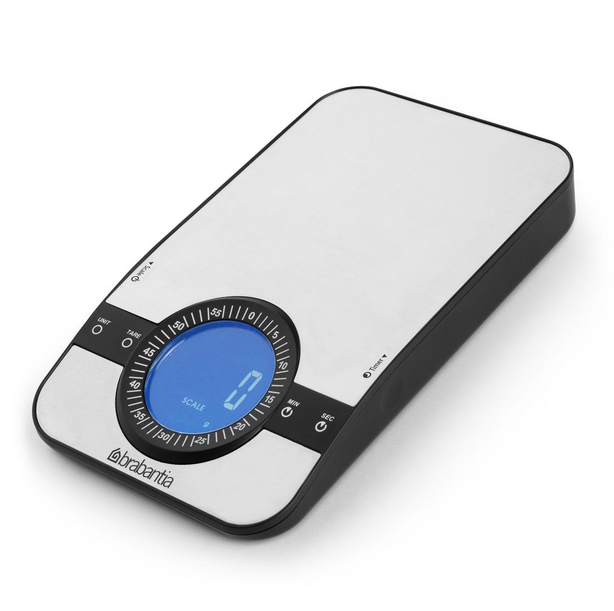 Весы кухонные электронные Brabantia, до 5 кг. 480607480607Цифровые кухонные весы Brabantia станут отличным помощником на кухне. Они помогут правильно рассчитать порции при диете или отмерят ингредиенты согласно рецепту с точностью до одного грамма. Вся необходимая информация отображается на ярком жидкокристаллическом дисплее. Для экономии заряда батареек в устройстве реализована функция автоматического выключения при длительном простое. Корпус прибора изготовлен из высококачественной нержавеющей стали и пластика и легко очищается от различных загрязнений. Резиновые ножки прибора предотвращают его скольжение по столешнице, что делает использование прибора более комфортным. Весы работают от трех батареек типа AAA напряжением 1,5V (входят в комплект).