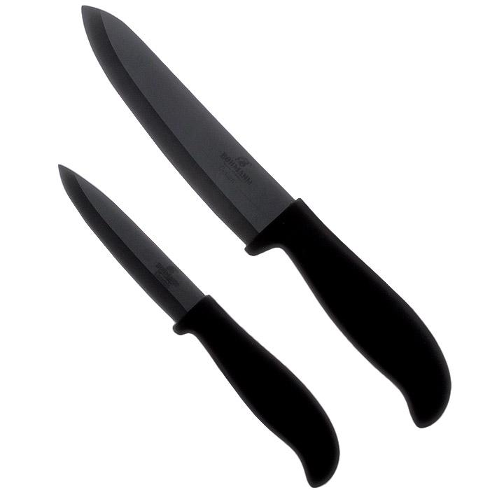 Набор керамических ножей Bohmann, цвет: черный, 2 предмета. 5223BH5223BHНабор Bohmann состоит из двух ножей: нож шеф-повара и универсальный нож. Лезвия ножей изготовлены из керамики, благодаря чему обладают сверхвысокой твердостью и износостойкостью. Резать без заточки таким ножом можно долгие годы, на нем не появляются царапины, и при этом он ощутимо легче стального. Керамика не оставляет на продуктах неприятного металлического послевкусия. Продукты, которые вы нарезаете керамическим ножом, не вступают в химическую реакцию, не окисляются и не намагничиваются - то есть сохраняют все свои полезные свойства. Эргономичные пластиковые рукоятки с эффектом Soft-Touch позволят держать нож свободно и максимально удобно. Нарезать продукты или чистить овощи теперь станет намного проще. Ножи Bohmann станут незаменимым помощником на кухне и помогут создавать кулинарные шедевры день за днем. Нельзя резать кости, очень твердые и замороженные продукты. Категорически нельзя рубить и скоблить. При чистке просто ополосните водой...
