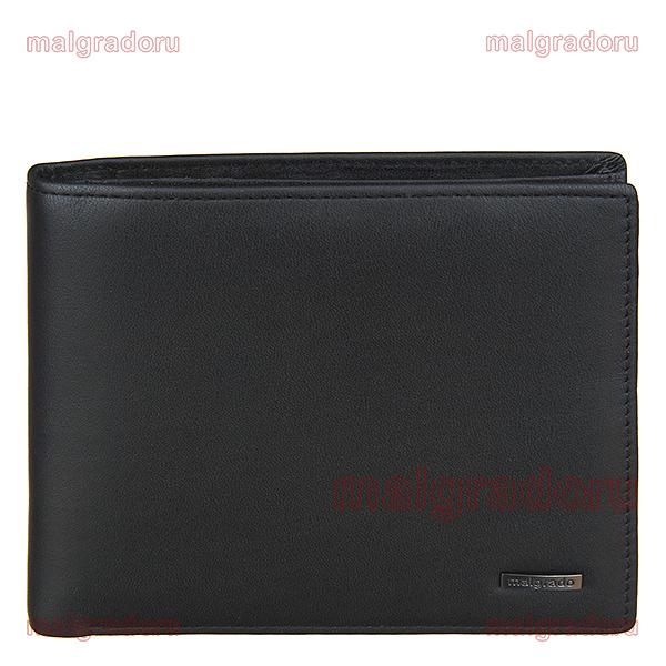 Портмоне Malgrado, цвет: черный. 40009-2-55D Black40009-2-55D BlackПортмоне Malgrado выполнено из высококачественной натуральной кожи черного цвета с логотипом фирмы. Портмоне имеет два кармана для купюр, восемь отделений для визиток, два скрытых кармашка, один прозрачный и кармашек для мелочи на кнопке. Это элегантное портмоне непременно подойдет к вашему образу и порадует простотой, стилем и функциональностью. Портмоне упаковано в коробку из плотного картона с логотипом фирмы.