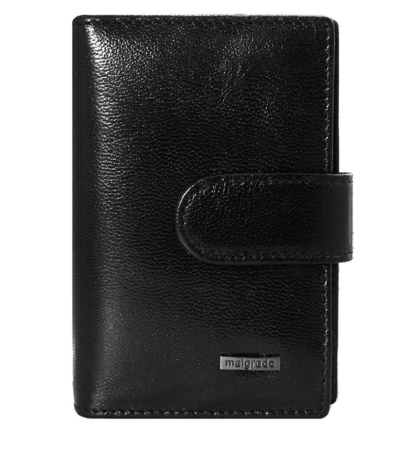 Визитница Malgrado, цвет: черный. 42003-5401D Black42003-5401D BlackВизитница Malgrado выполнена из высококачественной натуральной кожи черного цвета с логотипом фирмы. Визитница имеет два кожаных кармана и двадцать файлов для карточек, закрывается хлястиком на кнопку. Эта элегантная визитница непременно подойдет к вашему образу и порадует простотой, стилем и функциональностью. Визитница упакована в коробку из плотного картона с логотипом фирмы.