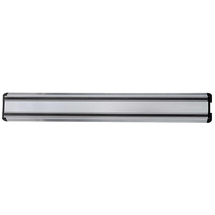 Магнитный держатель для ножей Rondell, длина 30 смRD-460Держатель Rondell выполнен из алюминия с магнитными вставками и предназначен для удобного хранения металлических кухонных ножей. Крепкие магнитные полосы надежно удержат все приборы. В комплект входят крепежные элементы (2 самореза, 2 дюбеля), с помощью которых держатель можно прикрепить к любой стене. Держатель для ножей Rondell идеально впишется в интерьер современной кухни и позволит полнее использовать пространство, избегая размещения ножей на горизонтальной поверхности.