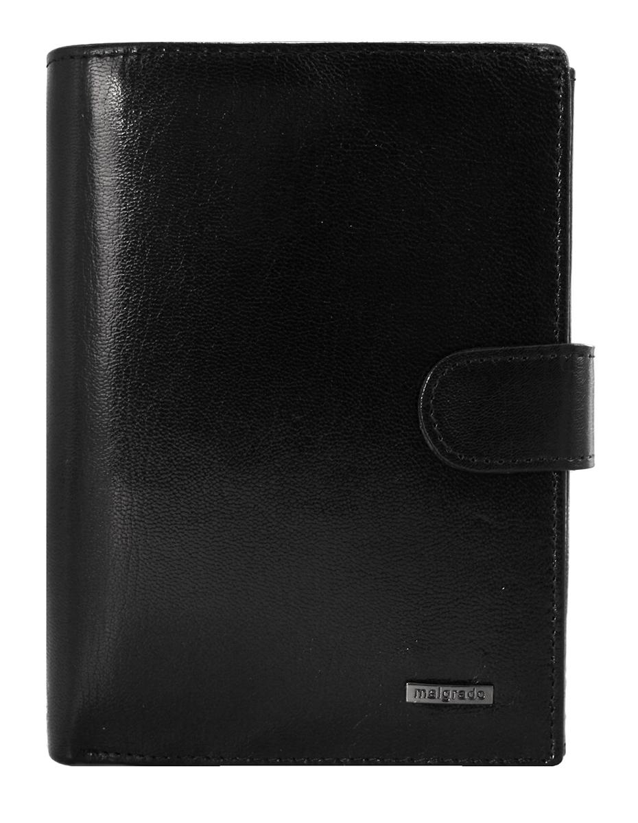 Портмоне Malgrado, цвет: черный. 54006-5401D Black54006-5401D BlackПортмоне Malgrado выполнено из высококачественной натуральной кожи черного цвета с логотипом фирмы. Портмоне имеет два кармана для купюр, один из которых на молнии, двенадцать отделений для визиток, два скрытых кармашка, три прозрачных, кармашек для мелочи на кнопке и блок из шести пластиковых файлов для авто-документов. Портмоне закрывается хлястиком на кнопку. Это элегантное портмоне непременно подойдет к вашему образу и порадует простотой, стилем и функциональностью. Портмоне упаковано в коробку из плотного картона с логотипом фирмы.