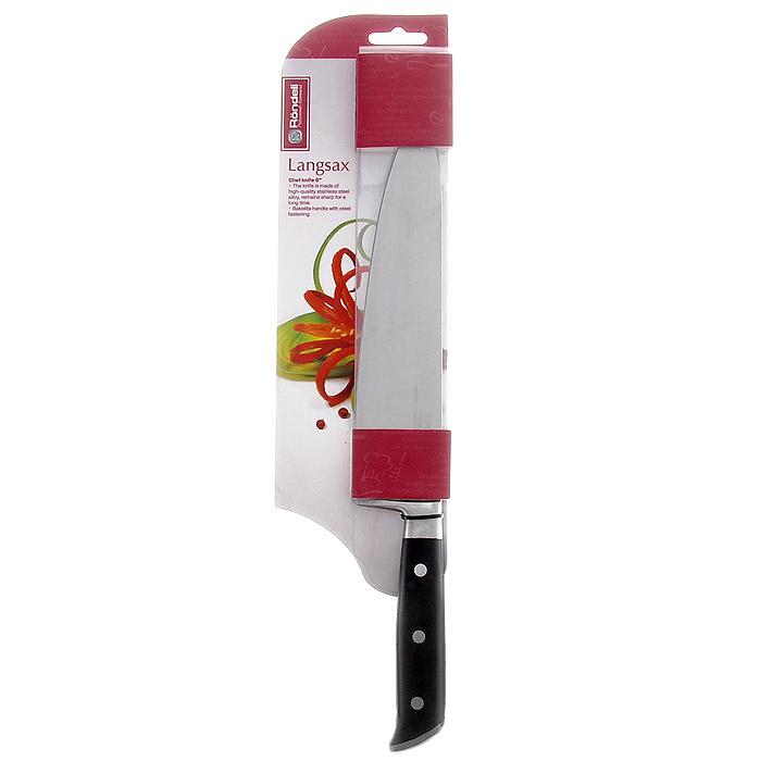 Нож поварской Rondell Langsax, длина лезвия 20 смRD-318Нож Rondell Langsax выполнен из высококачественной немецкой нержавеющей стали X30Cr13. Рукоятка, выполненная из черного бакелита со стальными креплениями, обеспечивает комфортный и легко контролируемый захват. Нож устойчив к коррозии и ржавчине, долго держит заточку, не выцветает и не теряет свой внешний вид с течением длительного времени. Нож с толстым, широким и длинным лезвием с центральным острием позволяет легко рубить капусту, овощи, зелень, резать замороженное мясо, рыбу и птицу. Практичный и функциональный нож Rondell Langsax займет достойное место среди аксессуаров на вашей кухне. Нельзя мыть в посудомоечной машине.