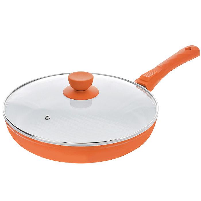 Сковорода Bohmann с крышкой, со съемной ручкой, с керамическим покрытием, цвет: оранжевый. Диаметр 26 см. 7026BH/2WC7026BH/2WCСковорода Bohmann изготовлена из литого алюминия с антипригарным керамическим покрытием. Антипригарное покрытие содержит 5 слоев: - бесцветное огнеупорное покрытие, - жаропрочный базовый слой, - алюминий, - керамический базовый слой, - керамический защитный слой. Внешнее покрытие - жаростойкий лак оранжевого цвета, который сохраняет цвет долгое время и обладает жироотталкивающими свойствами. Благодаря керамическому покрытию пища не пригорает и не прилипает к поверхности сковороды, что позволяет готовить с минимальным количеством масла. Кроме того, такое покрытие абсолютно безопасно для здоровья человека, так как не содержит вредной примеси PTFE. Рифленая внутренняя поверхность сковороды в виде сот обеспечивает быстрое и легкое приготовление. Достоинства керамического покрытия: - устойчивость к высоким температурам и резким перепадам температур, - устойчивость к царапающим кухонным принадлежностям и абразивным моющим...