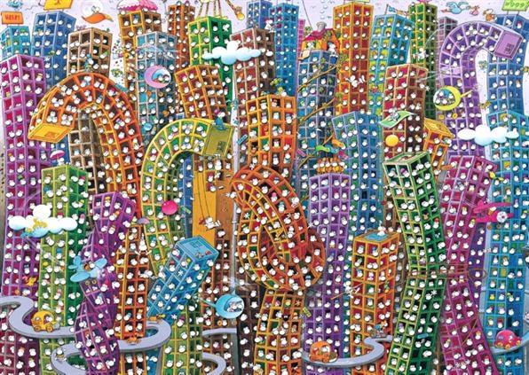 Город. Пазл, 2000 элементов29495Пазл Город (художник Guillermo Mordillo) без сомнения придется вам по душе, и вы получите массу удовольствия от процесса собирания картины. Пазлы - прекрасное антистрессовое средство для взрослых и замечательная развивающая игра для детей. Собирание пазла развивает у ребенка мелкую моторику рук, тренирует наблюдательность, логическое мышление, знакомит с окружающим миром, с цветом и разнообразными формами, учит усидчивости и терпению, аккуратности и вниманию. Собирание пазла - прекрасное времяпрепровождение для всей семьи.
