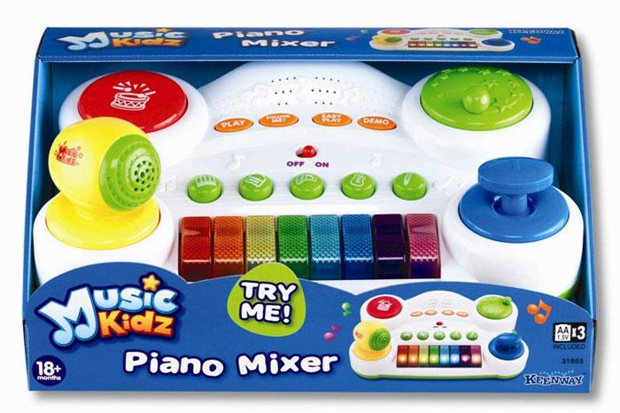 Синтезатор Keenway31955KWЭтот синтезатор способен открыть весь музыкальный мир ребенку! Малыш получит колоссальное удовольствие от разных звуков, которые раздаются благодаря нажатию клавиш. Синтезатор состоит из клавиатуры с 8 клавишами, над которой расположено 5 кнопок, каждая из которых символизирует отдельный музыкальный инструмент. Кнопки с инструментами позволяют перенастраивать звучание синтезатора. Одним нажатием можно поменять звучание клавиш на звуки саксофона, флейты, ксилофона, гитары или пианино. Чуть выше кнопок с музыкальными инструментами находятся кнопки для разных игр. С помощью них можно включить обычный режим игры, прослушать DEMO музыкального фрагмента, активировать простую игру, в которой ребенку нужно просто нажимать на любые клавиши по его желанию, после чего можно будет прослушать аранжированную мелодию, за которой последуют аплодисменты. А для детей старше предлагается более сложная игра Следуй за мной, где нужно воспроизвести мелодию путем ...