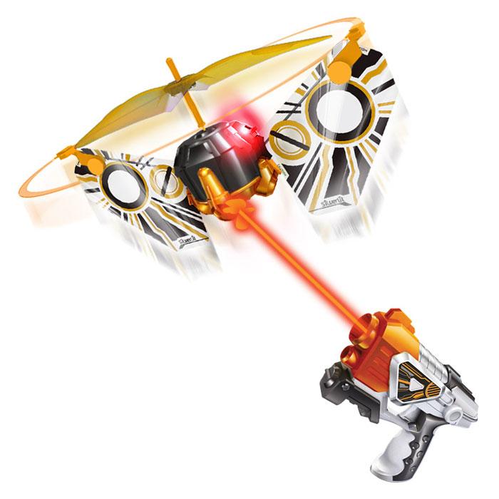 Лазерная атака с летающей мишенью Silverlit86842Нажмите на кнопку - мишень взлетит воздух и будет двигаться вверх и вниз. Когда загорится лампочка - выстрелите по мишени. После 5 точных попаданий мишень упадет на землю.