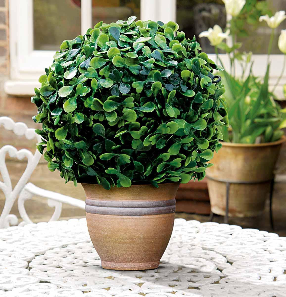 Искусственное растение Gardman Topiary Ball. Самшит, цвет: зеленый, диаметр 30 см02819Искусственное растение Gardman Topiary Ball выполнено из пластика в виде шара. Листья растения зеленого цвета имитируют самшит. Вы можете поместить растение в горшок, где оно будет очень эффектно смотреться. Растение устойчиво к воздействиям внешней среды, таким как влажность, солнце, перепады температуры, не выцветает со временем. Искусственное растение Gardman Topiary Ball великолепно украсит интерьер офиса, дома или сада.