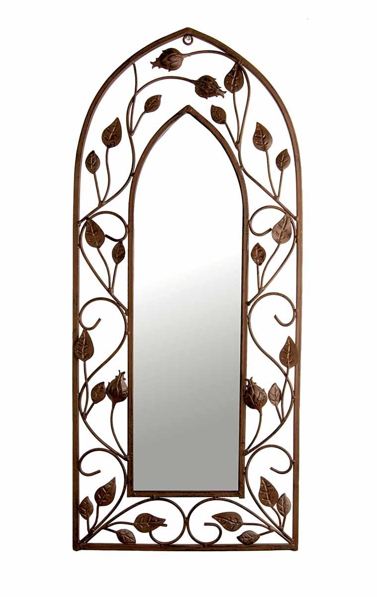 Зеркало настенное Gardman Gothic Arch, 71 см х 30,5 см. 1780117801Настенное зеркало Gardman Gothic Arch в готическом стиле добавит роскоши и драмы в интерьер любого помещения. Зеркало имеет форму арки. Металлическая рама под ковку оформлена извивающимися стеблями и бутонами. Изделие выполнено вручную. Такое зеркало прекрасно подойдет для украшения дома или сада. С задней стороны расположено отверстие для подвешивания на стену.