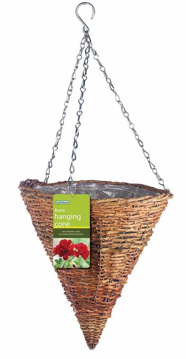 Корзина подвесная для цветов Gardman, диаметр 30 см. 0204902049Подвесная плетеная корзина Gardman в форме конуса изготовлена из рустика. Каркас выполнен из металла. Корзина уже оснащена специальной пленкой и полностью готова для посадки растений. Прекрасно подходит для цветов. Подвешивается с помощью специальной тройной металлической цепи с крючком. Кашпо часто становятся последним штрихом, который совершенно изменяет интерьер помещения или ландшафтный дизайн сада. Благодаря такому кашпо вы сможете украсить вашу комнату, офис или сад. Характеристики: Материал: металл, рустик. Диаметр корзины: 30 см. Высота корзины: 31 см. Товары для садоводства от Gardman - это вещи, сделанные с любовью, с истинно английской практичностью, основанной на глубоких традициях садоводства Великобритании. Эти товары широко известны садоводам Европы, США, Канады и Японии. Демократичные цены и продуманный ассортимент Gardman завоевал признательность и российского покупателя, достойного хороших, качественных вещей. В...