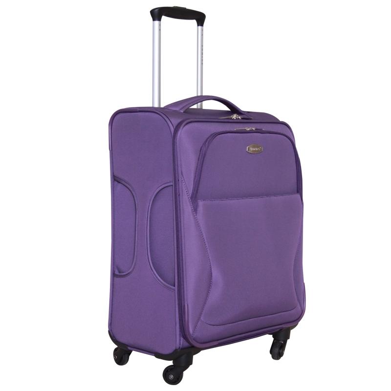 Чемодан-тележка Edmins, цвет: фиолетовый, 10 кг. 437 CT 720х9437 CT 720х9Ультра-легкий чемодан-тележка Edmins идеально подходит для поездок и путешествий. Чемодан изготовлен из плотного полиэстера фиолетового цвета, имеет жесткую форму. Имеется одно вместительное основное отделение для хранения одежды и аксессуаров, которое закрывается на застежку- молнию с двумя бегунками. Внутри содержится вшитый карман на молнии и накладной карман на молнии, а также два ремня на кнопках. Внутренняя поверхность изделия отделана атласным полиэстером серого цвета. С лицевой стороны сумки расположены два дополнительных отделения на молнии. С задней стороны содержится выдвижная табличка для записи имени и номера телефона. Чемодан оснащен удобной выдвижной алюминиевой ручкой, длину которой можно регулировать. Ручка выдвигается нажатием на кнопку. Дно чемодана имеет 4 вращающихся вокруг своей оси колеса. Боковая поверхность оснащена 4 пластиковыми вставками для предотвращения загрязнений. Имеется две коротких ручки...