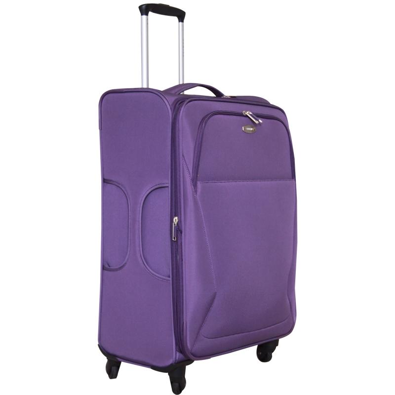 Чемодан-тележка Edmins, с расширяющимся объемом, цвет: фиолетовый, 20 кг. 437 CT 740х9437 CT 740х9Ультра-легкий чемодан-тележка Edmins идеально подходит для поездок и путешествий. Чемодан изготовлен из плотного полиэстера фиолетового цвета, имеет жесткую конструкцию. Благодаря дополнительному отделению на молнии обладает способностью расширяющегося объема. Чемодан имеет одно вместительное основное отделение для хранения одежды и аксессуаров, которое закрывается на застежку-молнию с двумя бегунками. Внутри содержится вшитый карман на молнии, накладной карман на молнии, а также два ремня на кнопках. Внутренняя поверхность изделия отделана атласным полиэстером серого цвета. С лицевой стороны сумки расположено два дополнительных отделения на молнии. С задней стороны содержится выдвижная табличка для записи имени, адреса и номера телефона. Чемодан оснащен удобной выдвижной алюминиевой ручкой, которая выдвигается нажатием на кнопку. Дно чемодана имеет 4 вращающихся вокруг своей оси колеса. Боковая поверхность оснащена 4 пластиковыми вставками для...