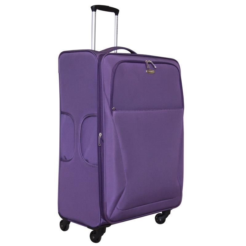 Чемодан-тележка Edmins, с расширяющимся объемом, цвет: фиолетовый, 30 кг. 437 CT 760х9437 CT 760х9Ультра-легкий чемодан-тележка Edmins идеально подходит для поездок и путешествий. Чемодан изготовлен из плотного полиэстера фиолетового цвета, имеет жесткую конструкцию. Благодаря дополнительному отделению на молнии обладает способностью расширяющегося объема. Чемодан имеет одно вместительное основное отделение для хранения одежды и аксессуаров, которое закрывается на застежку-молнию с двумя бегунками. Внутри содержится вшитый карман на молнии, накладной карман на молнии, а также два ремня на кнопках. Внутренняя поверхность изделия отделана атласным полиэстером серого цвета. С лицевой стороны сумки расположено два дополнительных отделения на молнии. С задней стороны содержится выдвижная табличка для записи имени, адреса и номера телефона. Чемодан оснащен удобной выдвижной алюминиевой ручкой, которая выдвигается нажатием на кнопку. Дно чемодана имеет 4 вращающихся вокруг своей оси колеса. Боковая поверхность оснащена 4 пластиковыми вставками для...