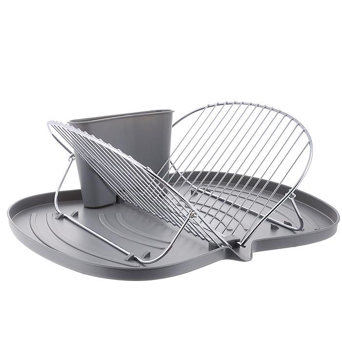 Сушилка для посуды Bohmann, складная, с подставкой для столовых приборов, цвет: серый. 7321BH7321BHСкладная сушилка для посуды Bohmann изготовлена из металла с хромированным зеркальным покрытием. Пластиковый поддон серого цвета предназначен для сбора капель. Положение металлических перекладин регулируется в зависимости от диаметра тарелки. В отличие от стационарных сушилок, ее можно хранить в сложенном виде и собрать по необходимости. В комплекте - подставка для столовых приборов. Очень практичная и функциональная сушилка не займет много места на кухне и стильно оформит интерьер.