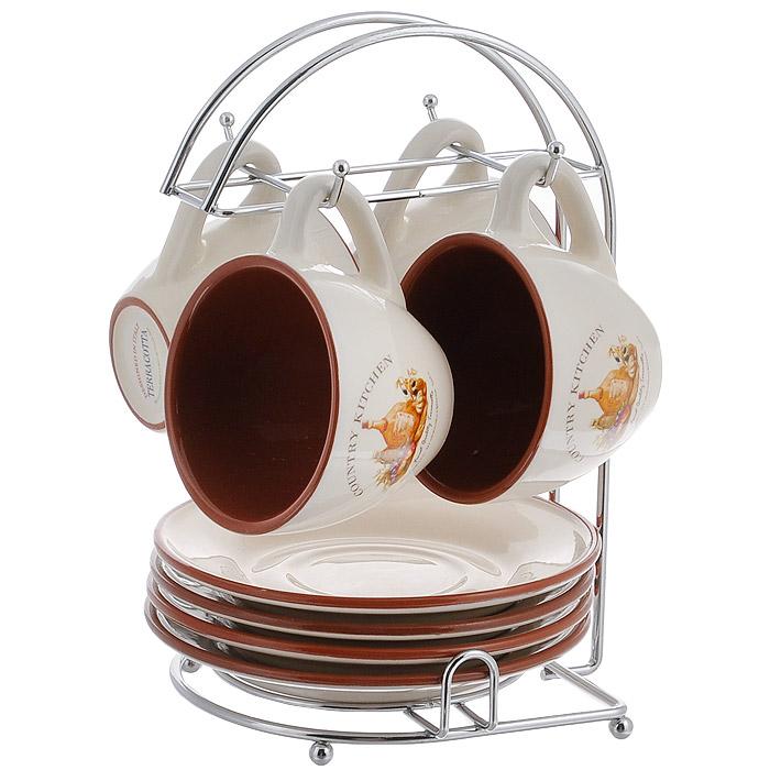 Набор чайный Terracotta Сардиния, 8 предметов. TLY314-V-ALTLY314-BT-ALЧайный набор Сардиния состоит из металлической подставки, 4 блюдец и 4 чашек. Предметы набора изготовлены из жаропрочной керамики и покрыты высококачественной глазурью. Такой чайный набор не оставит равнодушной не одну хозяйку и станет прекрасным подарком. Характеристики: Материал: металл, керамика. Диаметр блюдца: 15,7 см. Диаметр кружки по верхнему краю: 9 см. Диаметр основания кружки: 4,5 см. Высота кружки: 7 см. Объем кружки: 200 мл. Размер подставки (Д х Ш х В): 17 см х 15 см х 25 см. Производитель: Китай. Торговая марка Terracotta - это коллекции разнообразной посуды для сервировки стола, хранения продуктов и приготовления пищи из жаропрочной керамики, покрытой высококачественной глазурью. Изделия Terracotta идеально подходят для выпечки, приготовления различных блюд и разогревания пищи в духовом шкафу или микроволновой печи. Может использоваться для хранения продуктов, в том числе в холодильнике. При...