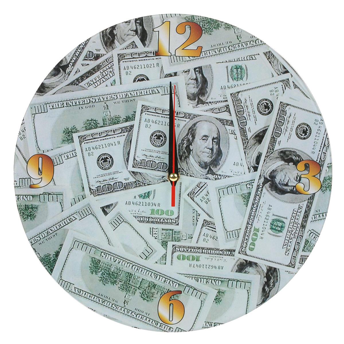 Часы настенные Доллары, стеклянные, цвет: зеленый. 9530595305Оригинальные настенные часы Доллары круглой формы выполнены из стекла и оформлены изображением долларов. Часы имеют три стрелки - часовую, минутную и секундную. Циферблат часов не защищен. Необычное дизайнерское решение и качество исполнения придутся по вкусу каждому. Оформите свой дом таким интерьерным аксессуаром или преподнесите его в качестве презента друзьям, и они оценят ваш оригинальный вкус и неординарность подарка. Характеристики: Материал: пластик, стекло. Диаметр: 28 см. Работают от батарейки типа АА (в комплект не входит).