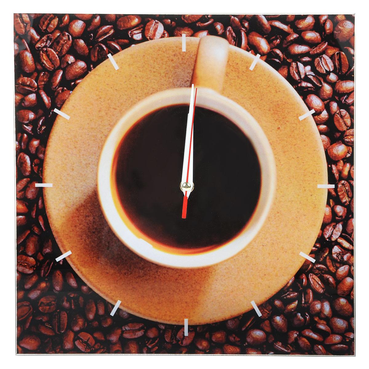 Часы настенные Кофе, стеклянные, цвет: коричневый. 9529995299Оригинальные настенные часы Кофе квадратной формы выполнены из стекла и оформлены изображением кофейных зерен, чашки кофе и метками. Часы имеют три стрелки - часовую, минутную и секундную. Циферблат часов не защищен. Необычное дизайнерское решение и качество исполнения придутся по вкусу каждому. Оформите свой дом таким интерьерным аксессуаром или преподнесите его в качестве презента друзьям, и они оценят ваш оригинальный вкус и неординарность подарка.