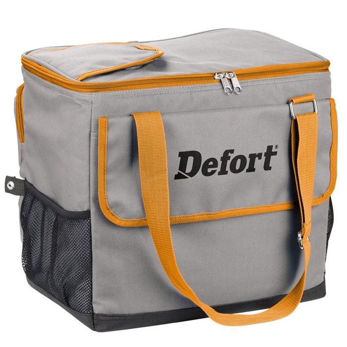 Холодильник автомобильный Defort. DCF-1298291704Автомобильную сумку-холодильник стоит приобрести в преддверии весеннее-летнего и дачного периода. С теплой погодой начинаются пикники, выезды на природу, путешествия. После прогулок и активных игр на природе, как обычно, хочется выпить чего-нибудь прохладного. Но магазины и домашний холодильник далеко, что же делать? В этом случае выручит небольшая сумка-холодильник Defort, которая может поддерживать прохладную температуру, работая от автомобильного прикуривателя. Большое количество дополнительных карманов позволяет разместить в сумке не только напитки и еду, но и всегда нужные на пикнике спички, столовые приборы, салфетки. Отдельный клапан для бутылок экономит время и избавляет вас от необходимости открывать всю сумку, бутылку можно достать через клапан и холодный воздух не выйдет из сумки. Длины кабеля 2 метра достаточно даже для размещения холодильника в багажнике. Эту стильную сумку-холодильник не стыдно захватить с собой в парк и на модную пляжную вечеринку, а...