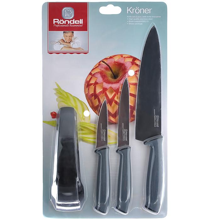 Набор ножей Rondell Kroner, 4 предмета. RD-459RD-459Набор Rondell Kroner предоставит вам все необходимые возможности в успешном приготовлении пищи и порадует вас своими результатами. При изготовлении ножей используется высококачественная нержавеющая сталь X30Cr13, которая обеспечивает высокие режущие свойства кромки клинка. Тщательно разработанный дизайн рукоятки позволяет ножу удобно располагаться в руке. Набор включает в себя: Нож поварской - гибкость у окончания клинка позволяет нарезать; утолщенное основание клинка позволяет рубить мясо, рыбу, овощи и фрукты. Плоской поверхностью клинка можно давить чеснок или отбивать мясо. Обух клинка можно применять для дробления костей. Нож универсальный - применяется для нарезки фруктов, сыра и приготовления бутербродов. Нож для овощей - используется для нарезки овощей и фруктов, приготовления гарниров и салатов. Ножеточка.