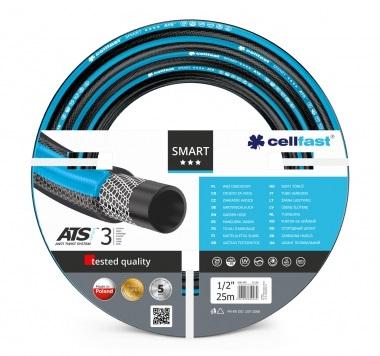 Шланг садовый Cellfast Smart Ats, с системой антискручивания, 1/2, 25 м13-100Трехслойный шланг Cellfast Smart Ats предназначен для полива. Шланг защищен от скручиваний, блокирующих струю воды. Трикотажная оплетка (Ats Variant) выполнена из высококачественной полиэстеровой нити. Шланг эластичен, устойчив к ультрафиолетовому излучению и нарастанию водорослей. Температура использования шланга от -20°C до +60°C. Гарантия в условиях нормальной эксплуатации 5 лет. Характеристики: Материал: ПВХ. Длина шланга: 25 м. Диаметр шланга: 1/2. Рабочее давление: 25 бар.
