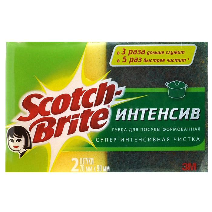 Губка для мытья посуды Scotch-Brite Интенсив, формованная, 2 шт71-0001-0537Набор из 2 губок Scotch-Brite Интенсив предназначен для мытья посуды. Лучшая губка для вашей кухни! Идеально удаляет жир, грязь и пригоревшую пищу. Отлично подходит как для посуды, так и для любой другой поверхности. Для удобства применения с одной стороны губки нанесен абразивный слой. Губки сохраняют чистоту и свежесть даже после многократного применения, а их эргономичная форма удобна для руки.