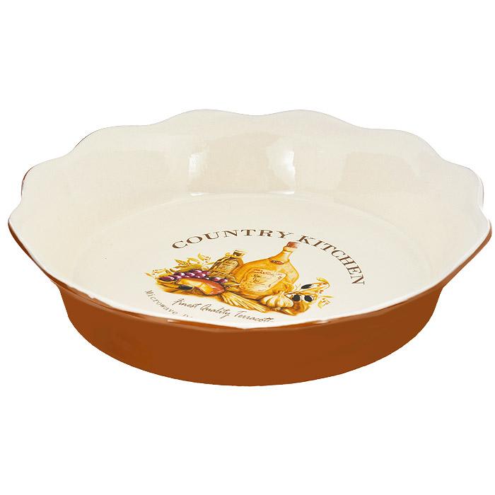 Блюдо для выпечки Terracotta Сардиния, диаметр 26 смTLY081-BT-ALБлюдо для выпечки Terracotta Сардиния изготовлено из высококачественной керамики бежевого цвета. Внешние стенки - терракотового цвета. Дно изделия оформлено красочным изображением винограда, оливок, маслин, сыра и оливкового масла. Блюдо имеет стенки высотой 5 см, благодаря чему его можно использовать для выпечки и запекания. Стенки изделия волнистые. Можно использовать в СВЧ, духовом шкафу и мыть в посудомоечной машине.