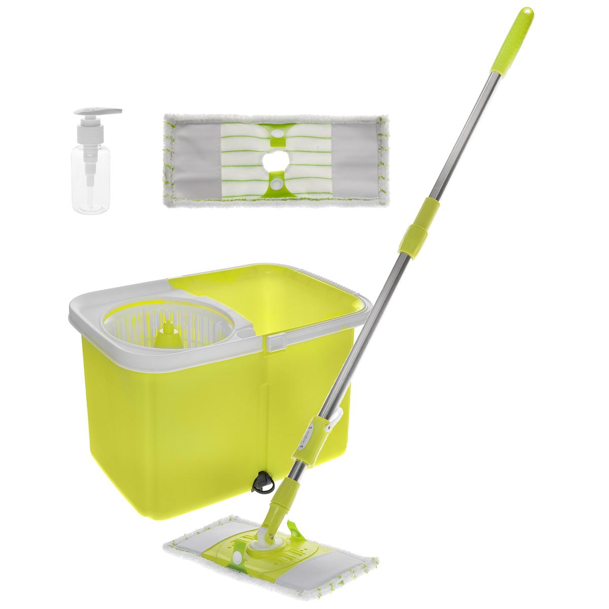 Набор для уборки, цвет: желтый, 4 предмета. ZT-16ZT-16Набор для уборки состоит из ведра, швабры и двух насадок. Ведро выполнено из пластика желтого цвета и оснащено центрифугой. Благодаря такому ведру со встроенным отжимом, уборка станет быстрой и гигиеничной, так как вы сможете выжимать швабру быстро и эффективно, не пачкая руки. Для удобства переноски ведро оснащено ручкой. Боковая часть ведра оснащена отверстием для слива, которое закрывается силиконовым клапаном. Благодаря этому ведро можно оставить, и содержимое аккуратно выльется самостоятельно. Прямоугольные насадки изготовлены из микрофибры. Специальная структура волокон насадки убирает даже сильные, затвердевшие загрязнения, не оставляя разводов и эффективно впитывает влагу. Черенок изготовлен из металла со вставками из пластика; складывается, что позволяет удобно его хранить, занимая минимум пространства. Набор предназначен для влажной уборки любых типов напольных покрытий. Насадка из микрофибры подходит для машинной стирки. Такой набор...
