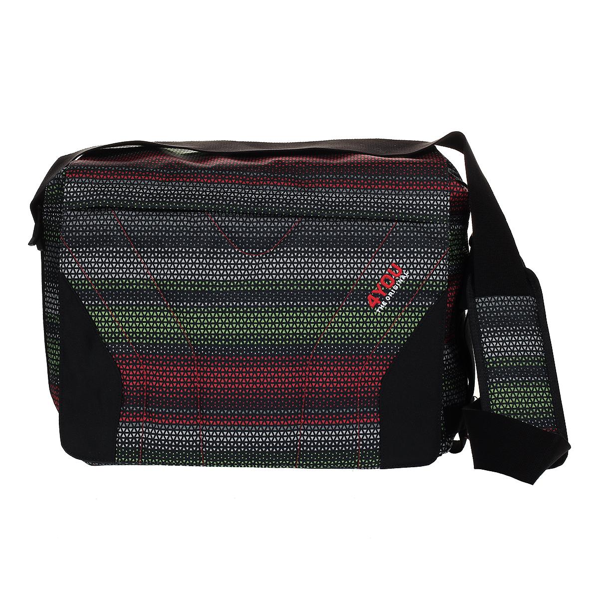 4You Сумка школьная Igrec цвет черный красный зеленый172300-118Школьная сумка 4You Igrec выполнена из прочного износостойкого материала черного цвета и оформлена маленькими треугольничками красного, зеленого и серого цветов. Сумка состоит из одного вместительного отделения и закрывается на застежку-молнию с двумя бегунками и сверху клапаном на магнитах. Внутри отделения находится специальная секция для переноски ноутбука или планшета, большой карман на застежке-молнии, вентилируемый карман без застежки, кармашек для мобильного телефона с мягкой внутренней поверхностью и два фиксатора для пишущих принадлежностей. На клапане и тыльной стороне сумки расположены внешние прорезные карманы, закрывающиеся на застежки-молнии. Сумка оснащена широким плечевым ремнем, регулируемым по длине.