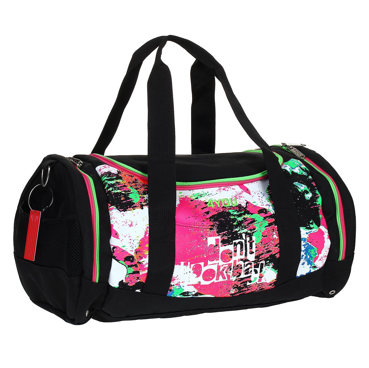 Сумка школьная 4You Спорт: Неон, цвет: розовый, салатовый, белый, черный171400-596Школьная сумка 4You Спорт: Неон предназначена для переноски спортивных вещей, обуви и инвентаря. Сумка выполнена из прочного износостойкого текстильного материала розового, салатового, белого и черного цветов и содержит одно вместительное отделение, которое закрывается на застежку-молнию с двумя бегунками. На лицевой стороне сумки находится небольшой внешний карман без застежки. По бокам расположены два накладных кармана, закрывающихся также на застежки-молнии с двумя бегунками. На внешней стороне каждого находится большой сетчатый карман без застежки. Спортивная сумка оснащена двумя текстильными ручками для переноски в руке и плечевым ремнем, регулируемым по длине.