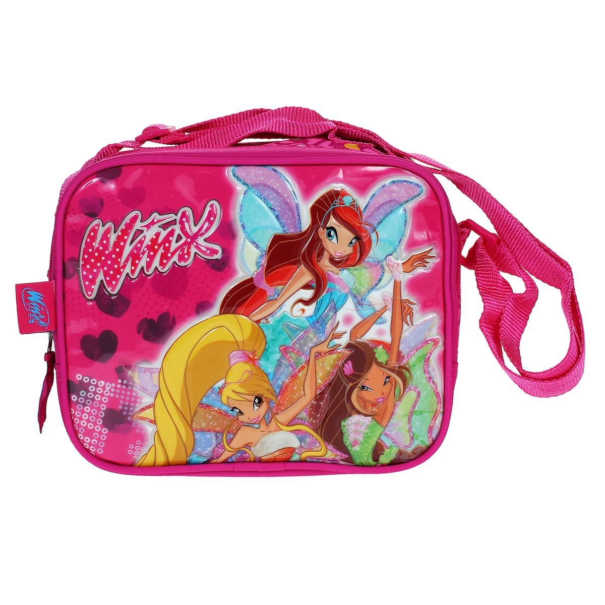 Детская сумочка Winx Club Sophix, цвет: ярко-розовый20755Детская сумочка Winx Club Sophix - это модный аксессуар для юной поклонницы популярного мультсериала Winx Club. Сумочка выполнена из прочного материала ярко-розового цвета и оформлена объемной аппликацией с изображением трех фей - Блум, Стеллы и Флоры. Сумочка содержит одно отделение и закрывается с помощью застежки-молнии. Бегунок застежки дополнен удобным текстильным держателем с надписью Winx Club. Сумочка оснащена регулируемым по длине ремнем для переноски, благодаря чему подойдет детям любого роста, и текстильной ручкой для переноски в руке или подвешивания. Порадуйте свою малышку таким замечательным подарком!