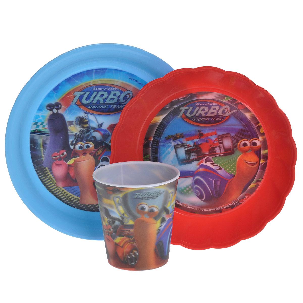 Набор детской посуды Турбо, цвет: красный, голубой, 3 предмета