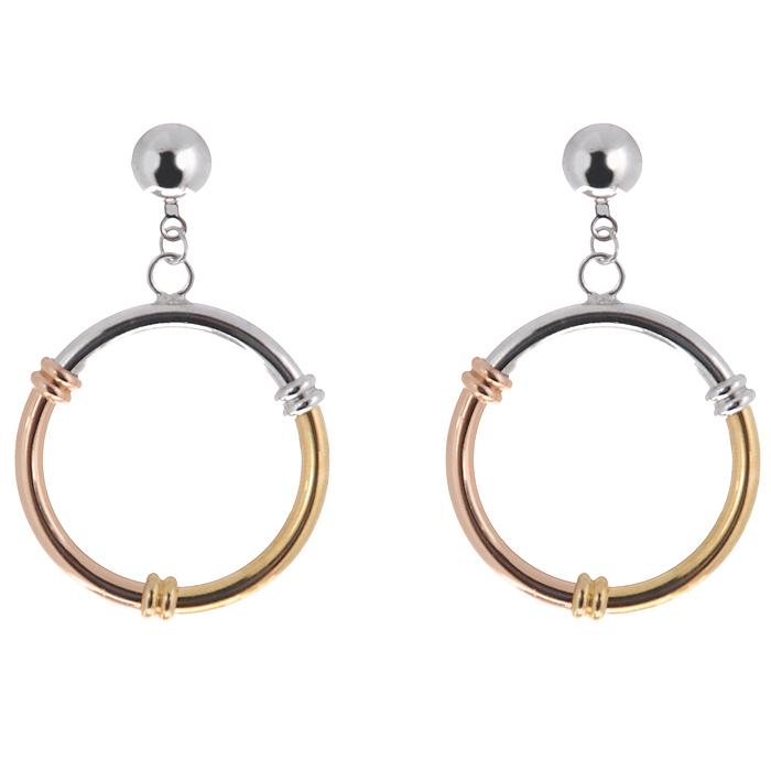 Серьги To Be Queen, цвет: серебристый, золотистый. 06FER080/3906FER080/39Оригинальные серьги To Be Queen в форме колец, выполненные из металла серебристого и золотистого цветов, помогут создать вам свой неповторимый стиль. Пластиковый стоплер обеспечивает надежное крепление серьги. Красивое и необычное украшение блестяще подчеркнет изысканный вкус, женственность и красоту своей обладательницы и поможет внести разнообразие в привычный образ.