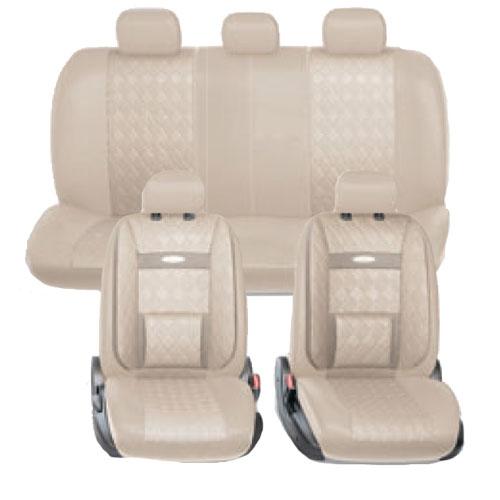 Набор авточехлов Autoprofi Comfort, ортопедическая поддержка, цвет: светло-бежевый, 11 предметов. Размер М. COM-1105GP L.BE/L.BE (M)COM-1105GP L.BE/L.BE (M)В качестве внешнего материала в чехлах Comfort GP применяется 3D полиэстер под кожу и экокожа - материал, приятный на ощупь, практически неотличимый от настоящий кожи, не горючий и легкомоющийся. Широкая гамма расцветок чехлов позволяет подобрать их практически к любому салону автомобиля. Анатомическое авточехлы Comfort имеют встроенный поясничный упор, плечевую и боковую поддержку. Посадка водителя и пассажира с этими чехлами становится естественной и удобной, позволяя с легкостью преодолевать большие расстояния. Основные характеристики: - Карманы в спинках передних сидений - 3 молнии в сиденье заднего ряда - 3 молнии в спинке заднего ряда - Предустановленные крючки на широких резинках - Поддержка плечевого пояса - Ортопедический поясничный упор - Боковая поддержка спины - Толщина поролона: 5 мм Комплектация: - 1 сиденье заднего ряда; - 1 спинка заднего ряда; - 2 спинки переднего ряда; - 2...