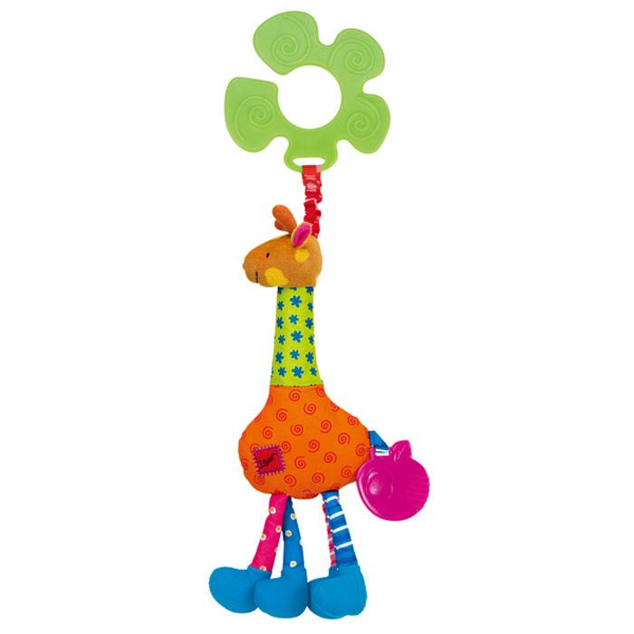 Игрушка-подвеска Ks Kids Жираф ИгорьKA408Мягкая игрушка-подвеска Ks Kids Жираф Игорь привлечет внимание вашего малыша и не позволит ему скучать. Игрушка выполнена из текстильного материала разных фактур и цветов в виде забавного жирафа. Его глазки, носик и ротик вышиты нитками, в туловище спрятаны шуршащий элемент и пищалка. В головке жирафа находится погремушка, а к хвостику крепится прорезыватель. С помощью фигурного пластикового незамкнутого кольца игрушку легко можно подвесить к кроватке, коляске, автокреслу или игровой дуге малыша. Яркая игрушка-подвеска Ks Kids Жираф Игорь поможет ребенку в развитии цветового и звукового восприятия, концентрации внимания, мелкой моторики рук, координации движений и тактильных ощущений.
