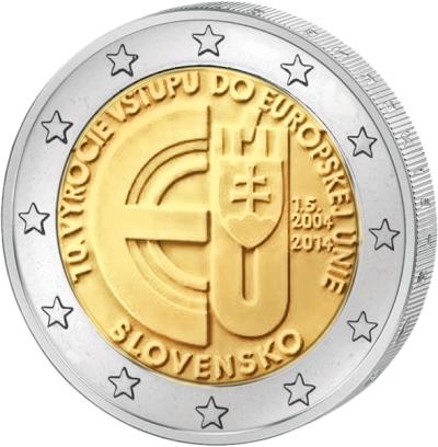 Монета номиналом 2 евро 10 лет вступлению Республики Словакия в Евросоюз. Словакия, 2014 годF30 BLUEМонета номиналом 2 евро 10 лет вступлению Республики Словакия в Евросоюз. Словакия, 2014 год Диаметр 2,5 см. Сохранность UNC (без обращения).