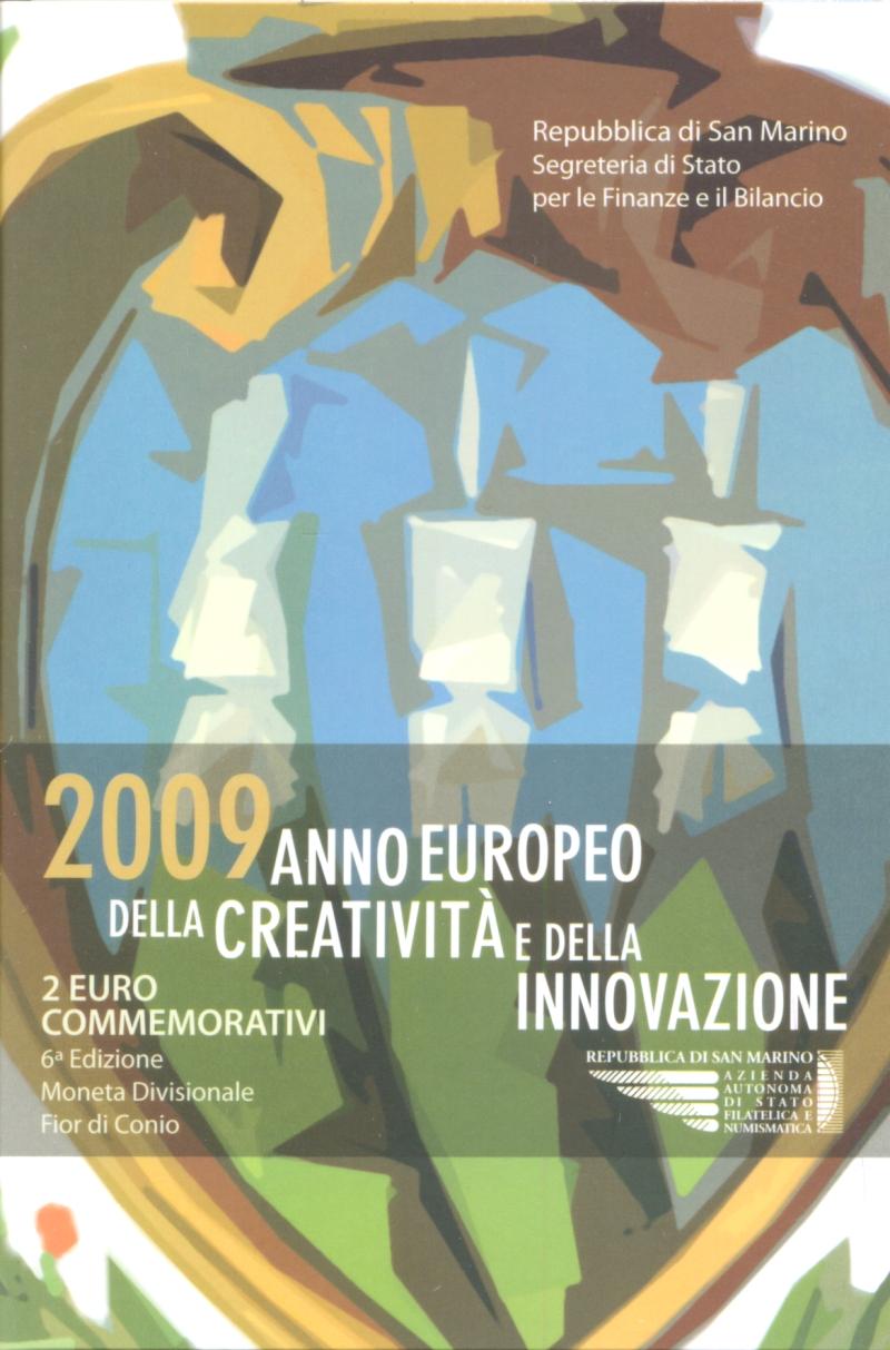 Монета номиналом 2 евро Европейский год творчества и инноваций. Сан-Марино, 2009 годF30 BLUEМонета номиналом 2 евро Европейский год творчества и инноваций. Сан-Марино, 2009 год Диаметр 2,5 см. Сохранность UNC (без обращения) Размер буклета: 10 x 15 см
