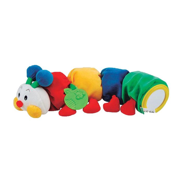 Развивающая игрушка Ks Kids Гусеничка с прорезывателемKA494Яркая развивающая игрушка Ks Kids Гусеничка с прорезывателем выполнена из текстильного материала различных цветов и фактур в виде симпатичной гусеницы. Внутри ее головы спрятана пищалка, на голове расположены два усика, внутри которых находятся погремушки. Щечки гусеницы шуршат. В середине туловища игрушки спрятан цилиндр с колокольчиком, мелодично звенящий каждый раз, когда малыш трясет гусеницу. В задней части игрушки находится безопасное круглое зеркальце. К гусенице крепится прорезыватель в виде яблочка с рельефной поверхностью, который поможет ребенку снять неприятные ощущения при прорезывании зубов. Гусеница снабжена небольшой петелькой для подвешивания. Игрушка Ks Kids Гусеничка с прорезывателем поможет ребенку в развитии цветового и звукового восприятия, тактильных ощущений, мелкой моторики рук и координации движений.