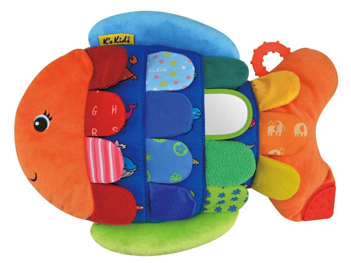 Развивающая игрушка Ks Kids Рыбка ФлипперKA653Яркая развивающая игрушка Ks Kids Рыбка Флиппер выполнена из текстильного материала различных цветов и фактур в виде симпатичной рыбки. В ее чешуйках спрятаны шуршащие элементы, одна чешуйка представляет собой безопасное зеркальце. Если малыш отогнет любую чешуйку, он увидит забавного морского обитателя. В хвостик рыбки встроены два пластиковых прорезывателя. Игрушка Ks Kids Рыбка Флиппер поможет ребенку в развитии цветового и звукового восприятия, тактильных ощущений, мелкой моторики рук и координации движений.