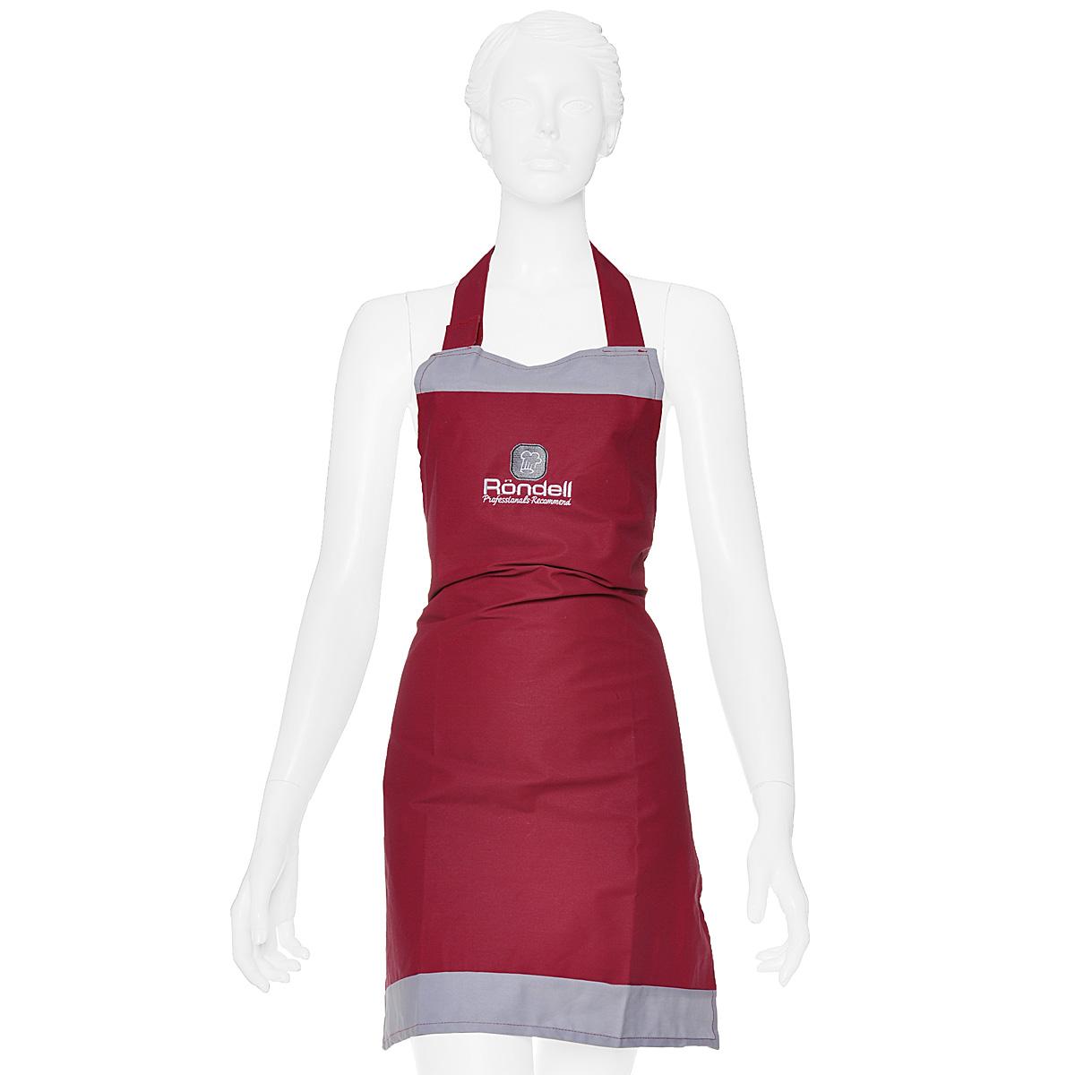 Фартук кухонный Rondell, цвет: бордовый, 56 х 76 смRDP-802Кухонный фартук Rondell выполнен из натурального хлопка бордового цвета. Ткань имеет защитное покрытие, обеспечивающее защиту от воды и жира. Фартук поможет вам избежать попадания еды на вашу одежду во время приготовления какого-либо блюда. На нем имеются удобная лямка-хомут и завязки. Длина хомута регулируется при помощи липучек. Характеристики: Материал: 100% хлопок. Размер фартука: 56 см х 76 см. Цвет: бордовый.
