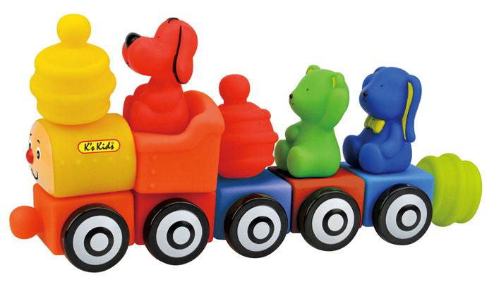 Ks Kids Мягкий конструктор Поезд друзейKA654Мягкий конструктор Ks Kids Поезд друзей разработан специально для всестороннего развития с первого года жизни. Набор выполнен из мягкого пластика и включает в себя пять вагончиков, три фигурки забавных животных и три элемента-насадки. Все элементы соединяются с другими конструкторами Ks Kids. Благодаря мягкому конструктору Ks Kids Поезд друзей ребенок сможет развить цветовое восприятие, тактильные ощущения, мелкую моторику рук, воображение и логическое мышление.