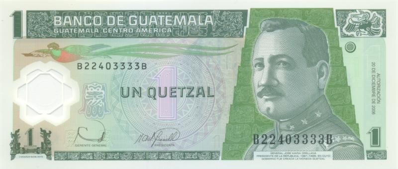 Банкнота номиналом 1 кетсаль. Полимер. Гватемала, 2006 годF30 BLUEБанкнота номиналом 1 кетсаль. Полимер. Гватемала, 2006 год. Размер 15,6 х 6,2 см.
