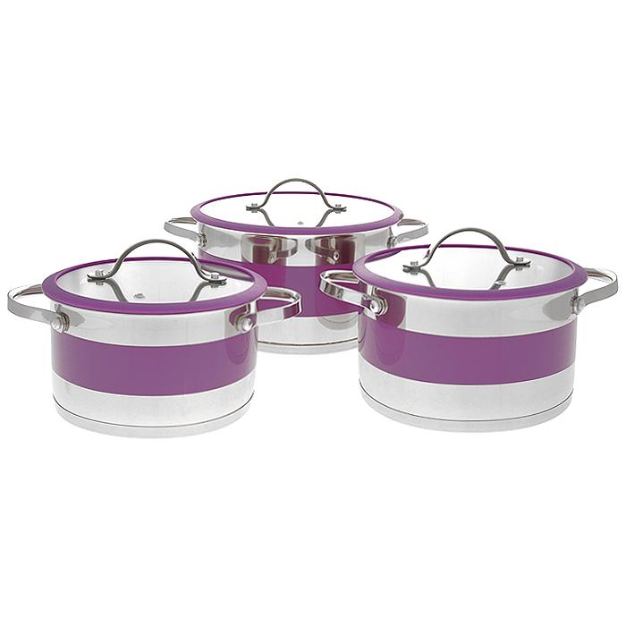 Набор посуды Bohmann, цвет: фиолетовый, 6 предметов. 0615BH0615BHNEWНабор Bohmann состоит из 3 кастрюль разного объема с крышками. Изделия выполнены из высококачественной нержавеющей стали. Прочность, долговечность и надежность этого материала, а так же первоклассная обработка изделий обеспечивают практически неограниченный запас прочности и неизменно привлекательный внешний вид посуды. Внешняя зеркальная полировка и покрытие фиолетового цвета придает посуде особо эстетичный внешний вид. Идеально ровная внутренняя поверхность значительно облегчает мытье. Кастрюли имеют многослойное капсульное дно с алюминиевым основанием, которое быстро и равномерно накапливает тепло и так же равномерно передает его пище. Капсульное дно позволяет готовить блюда с минимальным количеством воды и жира, сохраняя при этом вкусовые и питательные свойства продуктов. Применение технологии многослойного дна создает эффект удержания тепла - пища готовится и после отключения плиты благодаря термоаккумулирующим свойствам посуды. Внутренние стенки имеют отметки...