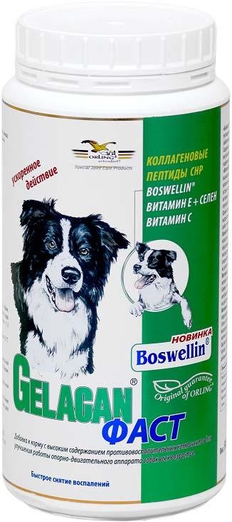 Добавка к корму для собак Гелакан Фаст, 500 г. GLN-12GLN-12Добавка к корму для собак Orling Гелакан Фаст подавляет воспалительные процессы в соединительных тканях суставов и сухожилий. Снижает боль и повышает подвижность суставов. Не оказывает вредного воздействия на внутренние органы собаки. Показания: - при острых осложнениях ОДА (хромоте, травмах суставов, позвоночника и сухожилий), сопровождаемых болевым синдромом; - при воспалениях позвоночника, суставов, сухожилий и мышц; - после операций и травм; - при скованности суставов у старых собак; - для улучшения подвижности. Способ применения: Применяется внутрь. Предварительно обязательно растворить в воде! Давать ежедневно с привычным для собаки кормом. Минимальный рекомендуемый курс применения 2 месяца. При необходимости возможно увеличение минимальной дозировки до 3-х раз. Курс рекомендуется повторять 2-3 раза в год, пожилым собакам рекомендовано непрерывное применение. Давать собакам в количестве, указанном на этикетке в соответствии с...