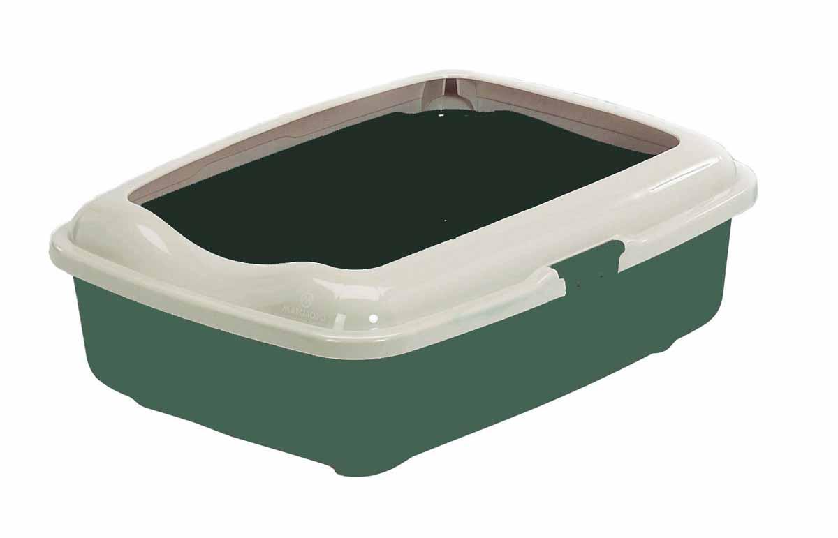Туалет для кошек Marchioro Goa, с бортом, цвет: зеленый, бежевый, 42 х 32 х 11 см1066100200099Туалет для кошек Marchioro Goa изготовлен из качественного итальянского пластика с полированной поверхностью. Высокий борт, прикрепленный по периметру лотка, удобно защелкивается и предотвращает разбрасывание наполнителя. Благодаря специальным резиновым ножкам туалет не скользит по полу.
