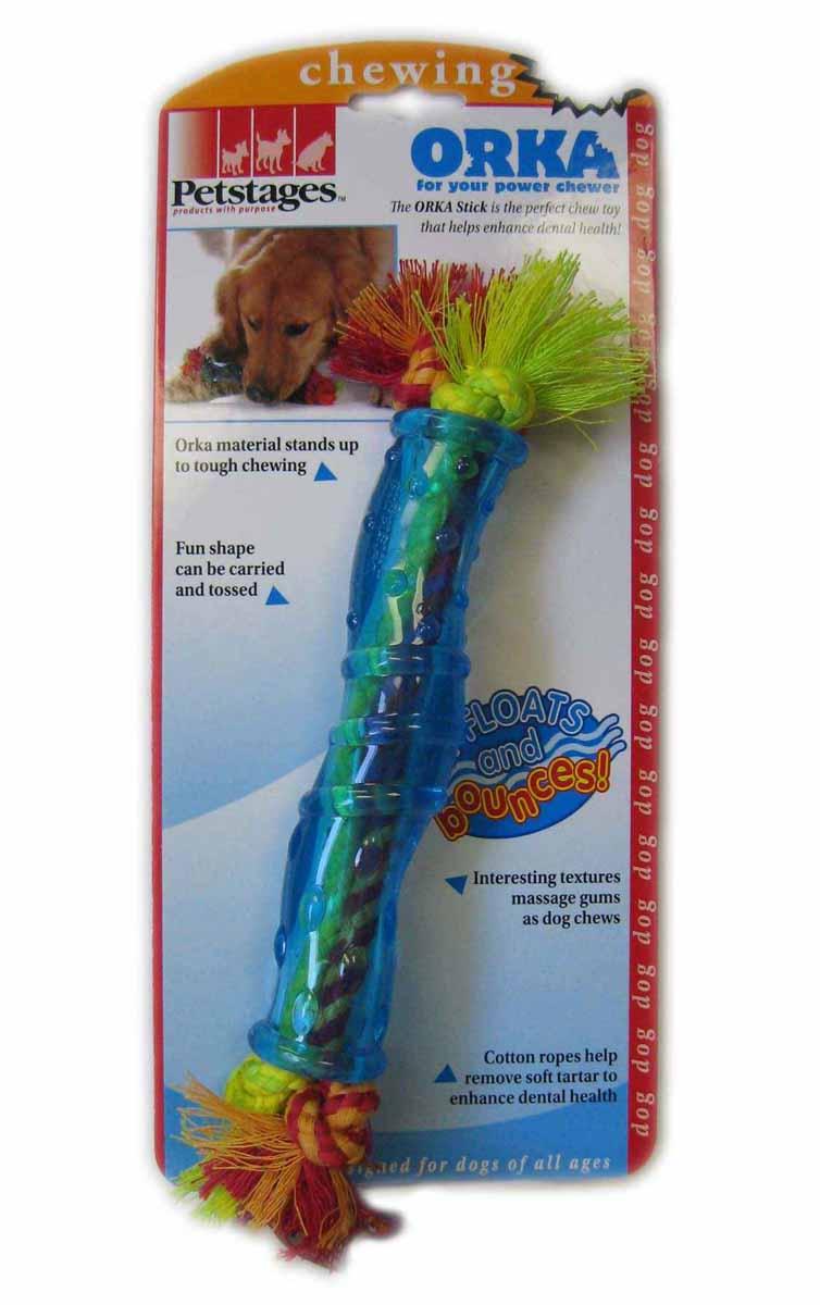 Игрушка для собак средних и крупных пород Petstages Оrka. Палочка, цвет: голубой, 30 см220REXИгрушка для собак Petstages Оrka. Палочка предназначена для собак средних и крупных пород. Она изготовлена из синтетической резины. Этот материал настолько безопасен, что из него делают детские прорезыватели для зубов. Игрушка массирует десны во время игры. Хлопковые канатики удаляют зубной налет, что способствует поддержанию здоровья полости рта. Использование игрушки одобрено ветеринарами. Размер игрушки: 30 см.